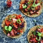 Coconut Pancakes with Sticky Salmon and Shredded Vegetables