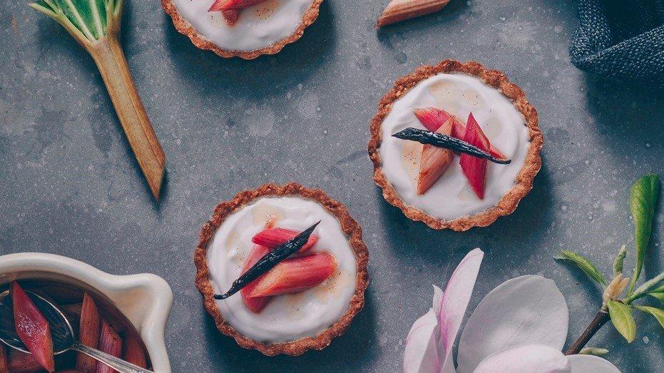 Rhubarb Tartlets with Crispy Almond Shortcrust and Coconut Yoghurt